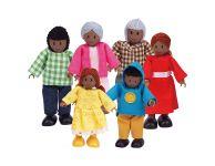 Houten poppenhuis familie afrika