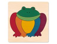 Houten puzzel regenboog kikker
